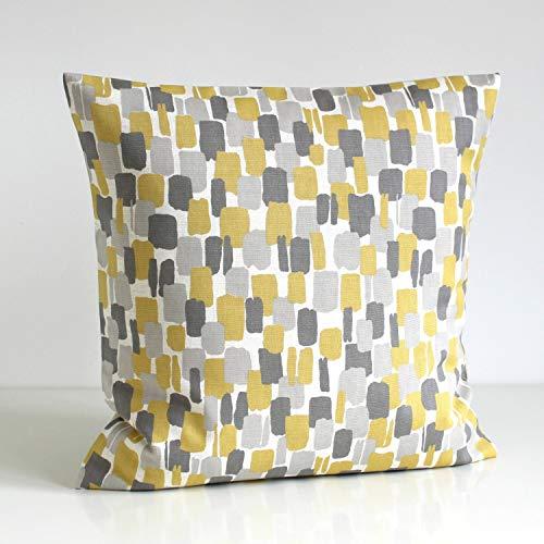 DKISEE Scandinavian Pillow Cover, Yellow And Gray Pillow Sham, Yellow Grey Cushion Cover, Pillowcase - Scandi Blocks Mustard 18x18 inches