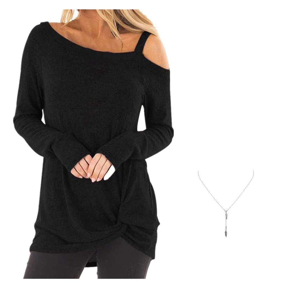 Whycat Womens Summer Round Neck Cold Shoulder Tees Loose Tunic Tops Casual Short Sleeve Strappy T-Shirt Blouse Sweatshirt
