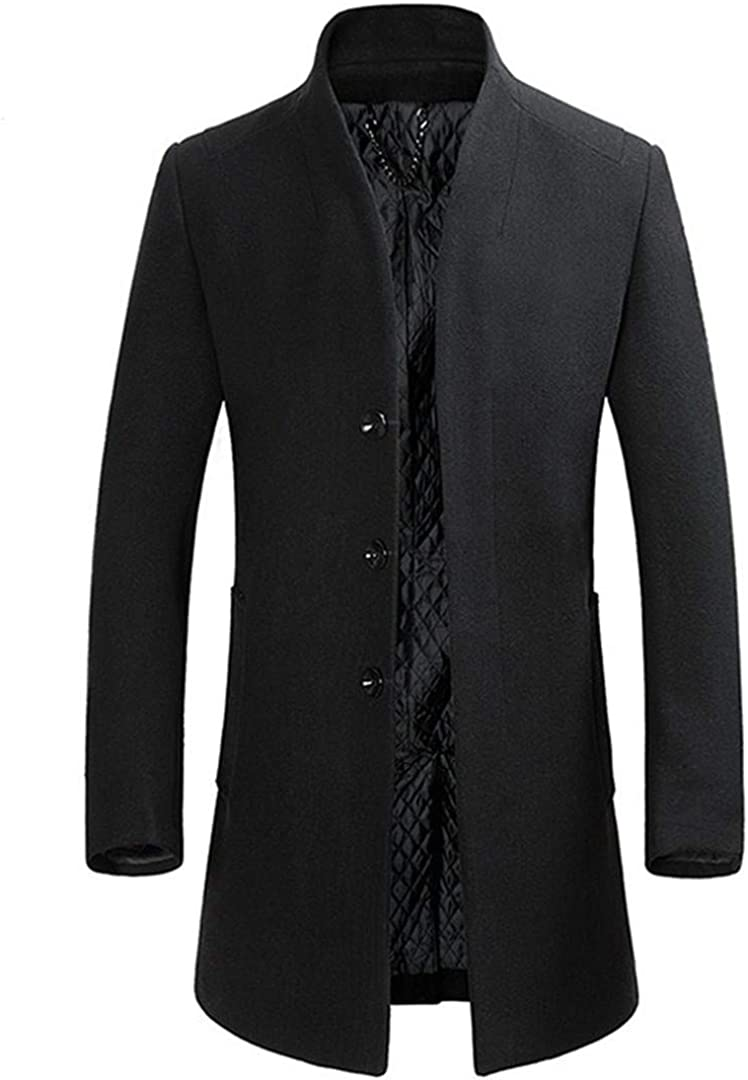 Zichhing Wool Blend Coats Men Business Casual Wool Overcoat Long Section Wool Coat
