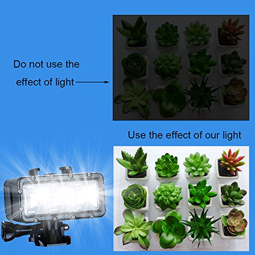 Suptig Diving Light High Power Dimmable Waterproof LED Video Light Fill Night Light Diving Underwater Light Waterproof 147ft(45m) for Gopro Hero 6/5/5S/4/4S/3+/2/SJCAM SJ4000/SJ5000/YI Action
