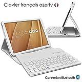 KARYLAX Seluxion - Etui de Protection Blanc avec Clavier Azerty Connexion Bluetooth pour Tablette ASUS Zenpad 3S Z500M