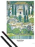 1art1 Gustav Klimt Póster (91x61 cm) Iglesia De Cassone Sul Lago De Garda, 1913 Y 1 Lote De 2 Varillas Negras