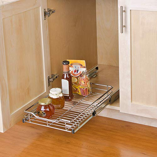 Smart Design 1-Tier Shelf Pull-Out Cabinet Organizer - Small - Roll-Out Extendable Sliding Drawer - Steel Metal - Holds 100 lbs. - Kitchen (12 In. x 18-35) [Chrome]