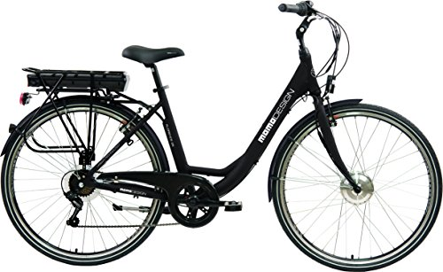 Momo Design Florence Bicicletta Elettrica City Bike, 26'', Velocità 25km/h, Autonomia 70km, Unisex – Adulto, Nero