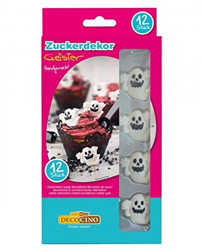 Horror-Shop 12 Essbare Gespenster als Dekoration für Muffins & Torten