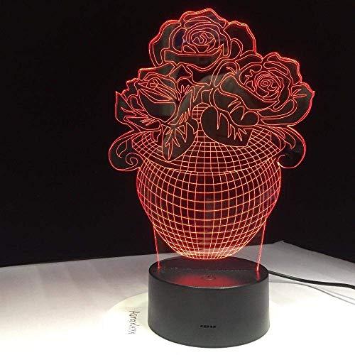 Lámpara De Ilusión 3D Luz De Noche Led Canasta De Flores Rosas Sensor Táctil Usb Amor Lámpara De Mesa Con Pilas Bebé Amigos Cumpleaños De Los Niños Regalos De Vacaciones