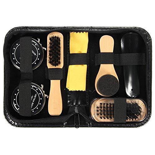 Agger 1SET Durable Schuhputz Care Kit für Boots-Schuh-Turnschuh-Schwarz-Leder Neutral Polnisch-Bürsten-Satz
