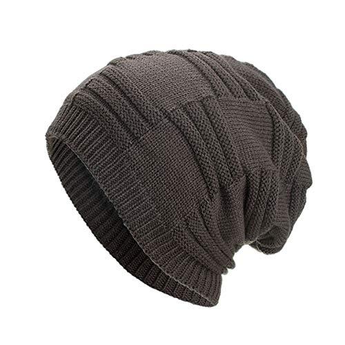 AIni Damen Herren warme Baggy Weave häkeln Winter Grobstrick Teddy Fleece Innenfutter Ski Beanie Skull Caps Hut (Grau)