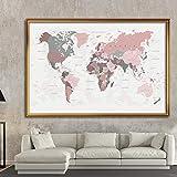 HUANGXLL El Mapa del Mundo Cartel Vintage Lienzo no Tejido Pintura Etiqueta de la Pared Tarjeta Sala de Estar decoración del hogar niños útiles escolares-60x90cm sin Marco