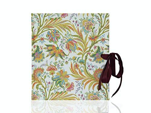 kleines Tagebuch mit Schleife, vintage-Buch blanko, Blumenmuster und Golddruck, 15 x 16,5 cm, 50 Blatt, Reisetagebuch quadratisch, schönes handgebundenes Poesiealbum zum selbst gestalten