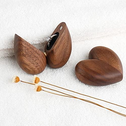 Caja de anillo de corazón secreto Caja de portador de anillo de madera de nogal Pequeño regalo de boda rústico personalizado para propuesta Ceremonia de compromiso Cumpleaños San Valentín Aniversario