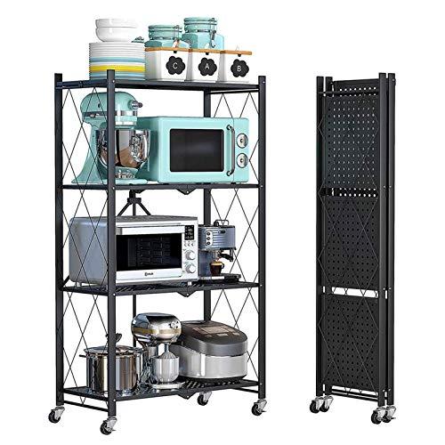 KAYBELE 4 estantería de Almacenamiento Plegable Unidad de estantería con Ruedas, Estante de Almacenamiento metálico Pantalla de Estante para Garaje Cocina Closet Lavandería, Negro