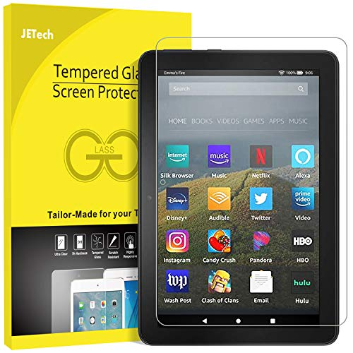 JETech Screen Protector for All-New Amazon Fire HD 8, Fire HD 8 Plus and Fire HD 8 Kids Edition (8-Inch, 10th Generation-2020 Release), Tempered Glass Film