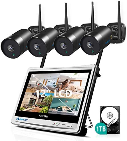 Wireless Security Camera System Outdoor with 1TB Hard Drive and Monitor, Anakk 4PCS HD 2MP WiFi IP Camera with Audio, IP66 Waterproof, Motion Detection Alarm, Plug & Play Smart Phone Free App Remote