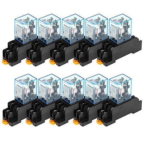 Montloxs Lot de 10 relais de puissance pour bobine de 220 V CA, 220 V CA, 10 A avec base