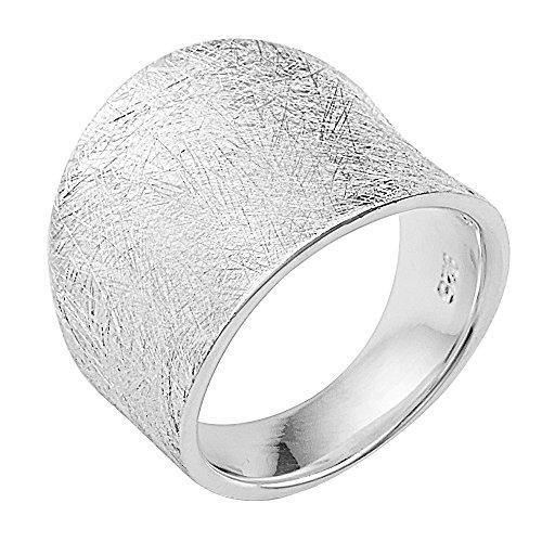 Vinani Ring gewölbt schlicht gebürstet breit massiv Sterling Silber 925 Größe 62 (19.7) 2RMX62