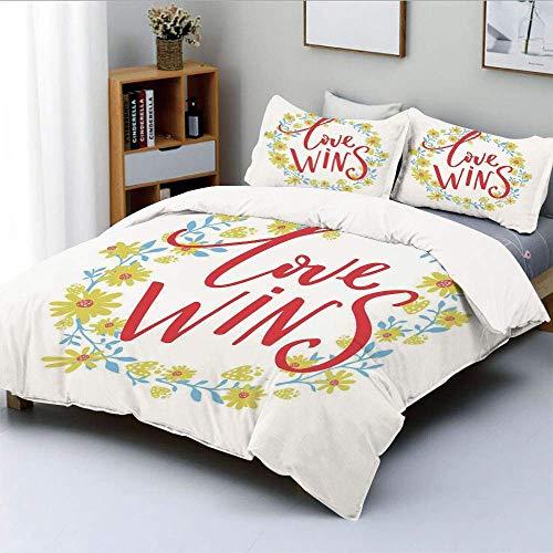 Bettbezug-Set, Liebe gewinnt Zitat in Blumenkranz Motivierende Inspiration Leben DisplayDekorative 3-teilige Bettwäsche-Set mit 2 Kissen Sham, Rot Gelb Himmelblau, Kinder & Pf