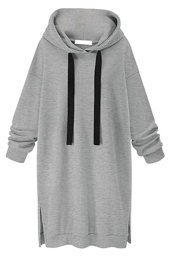 一瞬偽善談話レディース 秋 ルーズ フィット スウェットシャツ フーディ トップ ドレス Black US Medium
