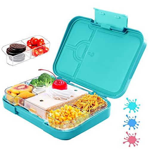 Ausbond Brotdose Kinder mit Fächern Bento Box Auslaufsicher und Robust Lunchbox BPA-Frei Vesperbox Schule mit 6 Unterteilung Variablen Fächern für Jungs Mädchen Kindergarten Grün