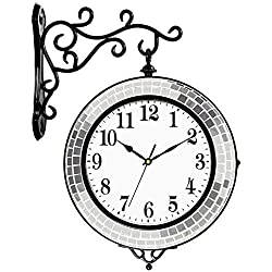 DWE-Watch Shop Double Sided Wall Clock Vintage Style Round Clock with Scroll Wall Side Mount European Style Decoration Home Decor Wall Clock (Color : B)