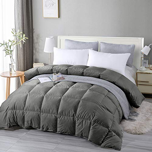 EDUJIN 100% Cotton Comforter Down Comforter King Goose Duck Down and Feather Filling Duvet Insert and Medium Warmth All-Season Duvet with Corner Tabs 106×90 Dark Gray