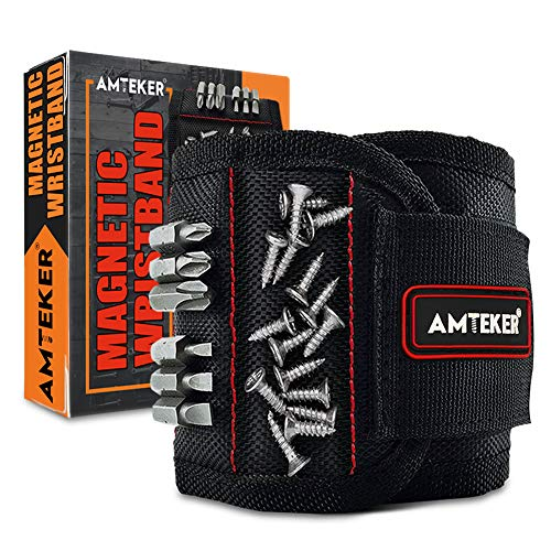 Amteker Magnetic Wristband, Secret Santa Gifts for Men, Gadgets for Men, Gifts for Dad, Gadgets with 15 Powerful Magnets for Screws, Drilling Bits and Small Tools, Men Gifts