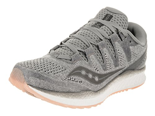 Saucony womens Freedom Iso? road running shoes, Grey | Peach, 5.5 US