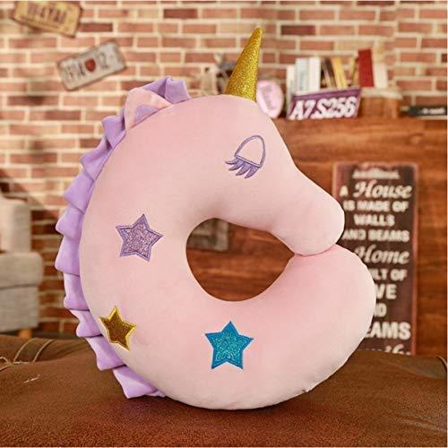 Knuffels-Cartoon zachte pluche Pony Doll, omlaag Cotton Pony U-vormig kussen met een vulling Kinderen 35x32cm Pink Huangwei7210