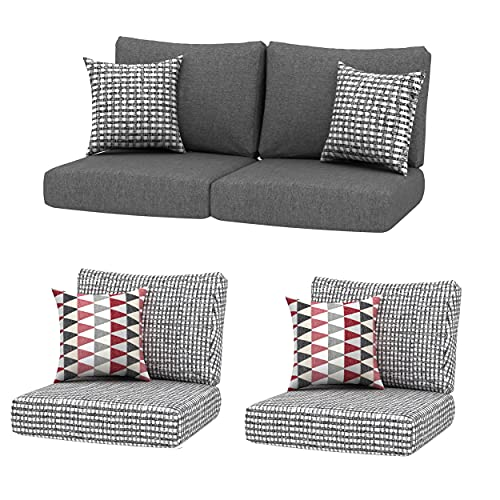 Creative Living 24x24 Outdoor Refresh Patio 4pc Chat Group Deep Seating Replacement Cushions with Decorative Pillows, Grey Mix