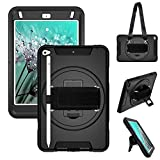 iPad Mini 5 Case 2019,iPad Mini 4 Case 2015 with Pencil Holder, Hand/Shoulder Strap,360° Rotation Stand Rugged Protective Case for iPad Mini 4th/5th Generation 7.9 inch,Black
