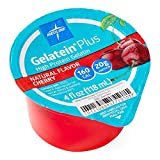 Medline Active Gelatein Plus Supplement, Easy to Serve, Protein and Calorie Enhanced, Cherry Flavor, 4oz. Cup (Case of 36)