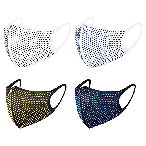 4 Pack Adults Diamond Face_Masks for Protection, Breathable Dustproof Washable & Reusable Face Balaclava for Outdoor Sport Bicycle Bike Mountain Activities