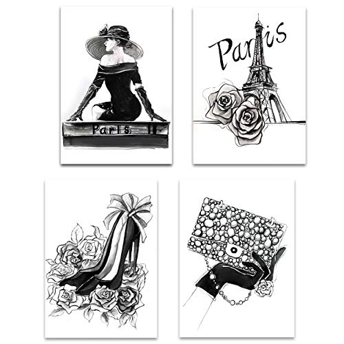 Lodintech Black and White Canvas Wall Art Fashion Women Girls Bedroom Wall Decor Paris Eiffel Tower Unframed Art Prints High Heels Rose Handbag Wall Pictures Living Room Bathroom Decor 8x12 (Gray)