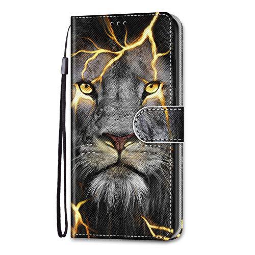 Laybomo Hülle für LG K50S Handyhülle mit Kartenfach Geld Slot Ständer PU Ledertasche TPU Bumper Flip Schutzhülle Kompatibel mit LG K50S, Tiger Blitz