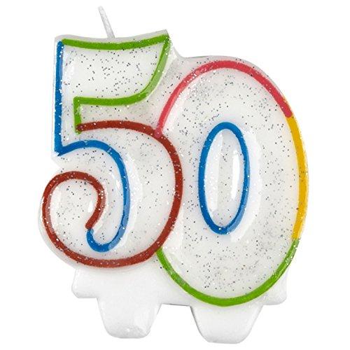 amscan 9900812 Bougie d'anniversaire 50 ans Blanc/pailleté 7,5 cm
