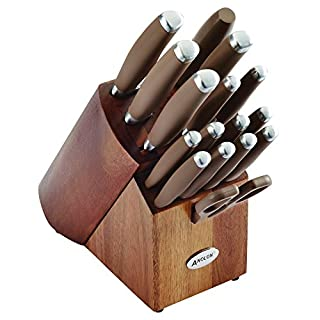 Anolon SureGrip Japanese Stainless Steel Knife Kitchen Cutlery Wooden Block Set, 17 Piece, Bronze Brown (B01DTF0OGW) | Amazon price tracker / tracking, Amazon price history charts, Amazon price watches, Amazon price drop alerts