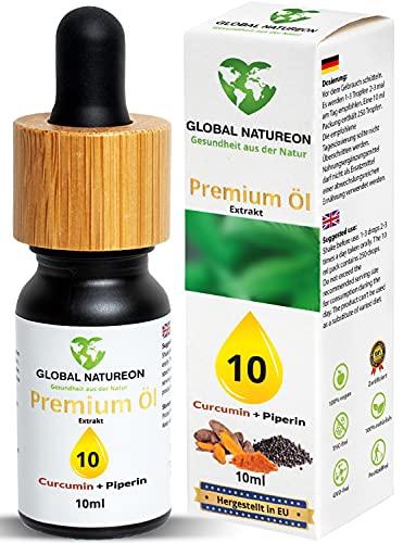 GLOBAL NATUREON® PREMIUM ÖL 10 (10 ml) Tropfen mit Hanfsamenöl I Natur-Komplex Terpene plus Curcumin und Piperin I 127 x höhere Bioverfügbarkeit I Naturprodukt mit Zertifikat