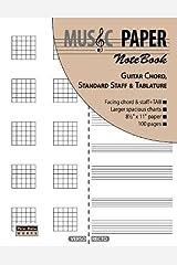 MUSIC PAPER NoteBook - Guitar Chord, Standard Staff & Tablature Paperback