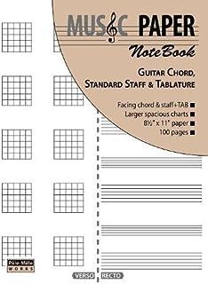 MUSIC PAPER NoteBook - Guitar Chord, Standard Staff & Tablature