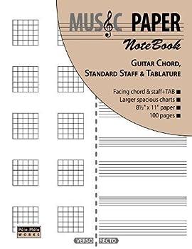 MUSIC PAPER NoteBook - Guitar Chord Standard Staff & Tablature