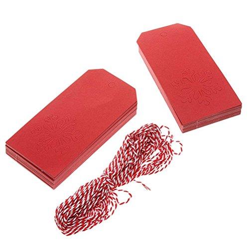 Pixnor 100 piezas Navidad decoración rojo Navidad copo de nieve colgante etiqueta...