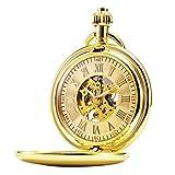 TREEWETO, orologio da taschino unisex con catena, analogico, caricamento a mano, design antico scheletrato,numeri romani, colore oro