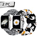 JIELIELE Compatible with Scrunchie Apple Watch Band 38mm 40mm 42mm 44mm, Cute Elastic Wristbands for Women, Stretchy Strap Iwatch Bands for Apple Watch Series SE 6 5 4 3 2 1 (M-38/40 D+G)