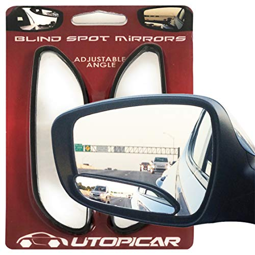 Blind Spot Mirrors. Long Design Car Mirror for Blindspot by Utopicar Car Accessories. Automotive Rear View Door Mirrors | Stick-on mirror (2pack)