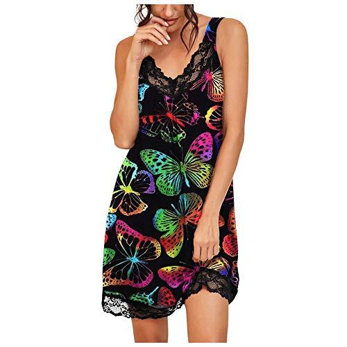 Camisón Mujer Seda Sexy Verano Sin Manga Correas, Vestido de Pijama Ligero y Suave Estampado de Camuflaje de Mariposa Leopardo