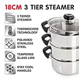 Morphy Richards Equip 970008 18cm 3 Tier Steamer with Tempered Glass Lid, Stainless Steel