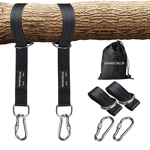 Sahara Sailor Tree Swing Hanging Straps (Set of 2), Two 5ft Straps, Holds 2200 lbs, Non-Stretch Swing Hanging Kit with Safety Lock Carabiners Carrying Bag Perfect for Tire, Disc Swings, Hammocks