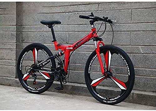 Folding Mountain bike for adulti, acciaio al carbonio Telaio, doppio freno a disco, Full Suspension for gli uomini le donne for bicicletta 5-27 (Colore: A, Dimensione: 26 pollici 21 velocità) yqaae
