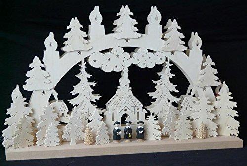 Schwibbogen el. Beleuchtet mit Kurende klein B x H= 50x32cm NEU Lichterbogen Fensterschmuck Erzgebirge Holz