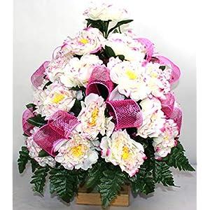 XL Fall Spring Mixture Artificial Silk Flower Cemetery Standard Vase Arrangement